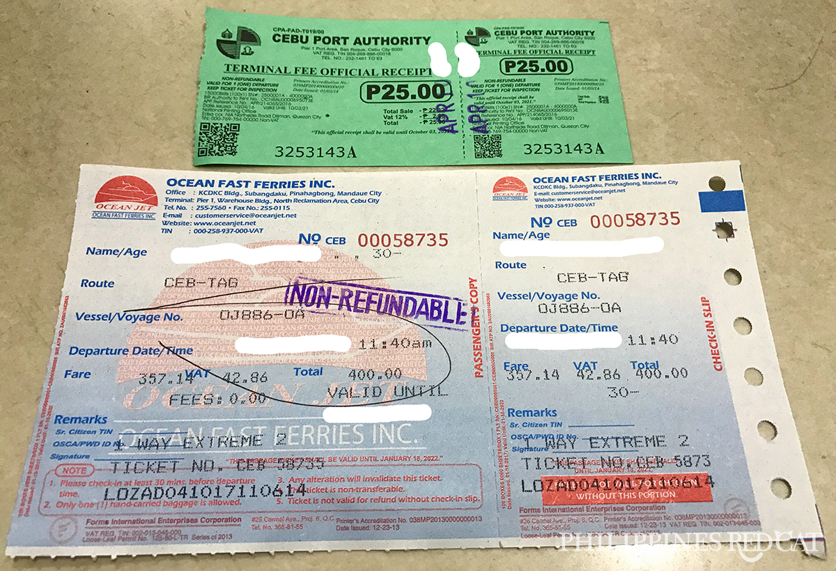 Cebu to Bohol Ferry Ticket